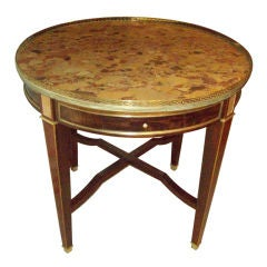 Exceptional Marble Top Bouillotte Table with Brass Gallery