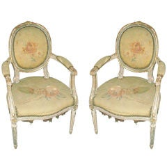 Exquisite Louis XVI Style Painted and Gilded Armchairs