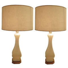 A Pair of Opaline Glass Lamps on Brass Base