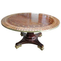 Spectacular Brass- Inlaid, Tilt-Top Rosewood Table In the Thomas Hope Manner