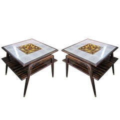 A Pair of Two-Tiered Faux-Macassar Ebony Tables