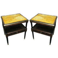 Pair Of Faux-Painted Macassar Ebony Nightstands