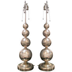 Pair of Mid-Century Polished Nickel Spherical Lamps