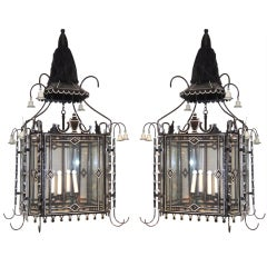 Pair of Black and White Tole Lanterns