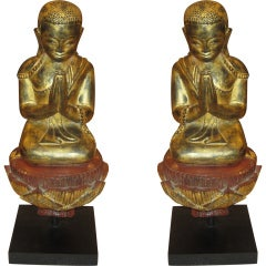 A Pair of Giltwood Quan Yin on Stand