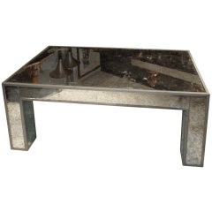 Silver Leafed, Mirrored Coffee Table