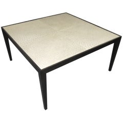 Custom Ebonized Ostrich-Top Coffee Table