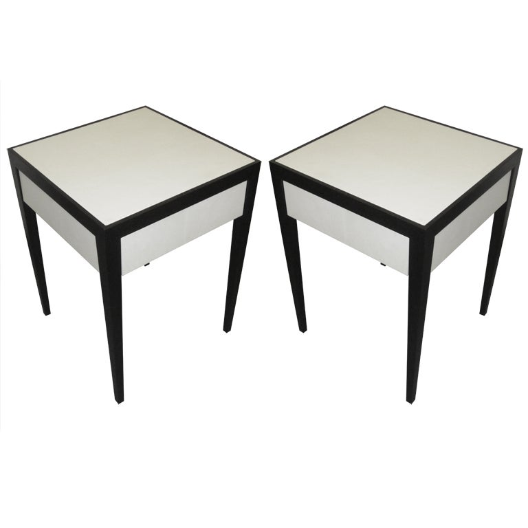 Custom Parchment Ebonized  End Tables with Central Drawer