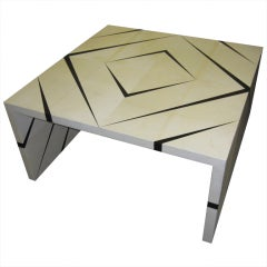 Unusual Parchment and Enamel Coffee Table
