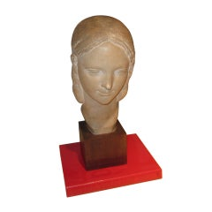 French Terracotta Bust of Woman Signed R. Andrei
