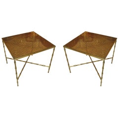 Pair of Bronze Faux-Bamboo End Tables