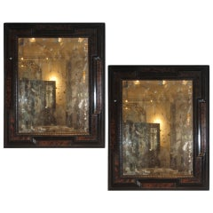Antique Pair of Dutch Faux-Bois Mirrors
