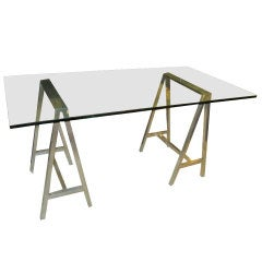 Polished Chrome Saw Horse Desk