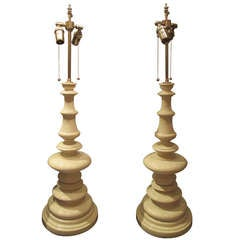 A Pair of Spectacular Lacquered Wood Tole Lamps
