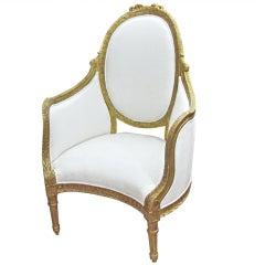 Unusual Louis XVI Style Giltwood Armchair