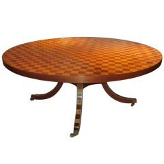 Spectacular Parquetry Inlaid Dining Table on Castors