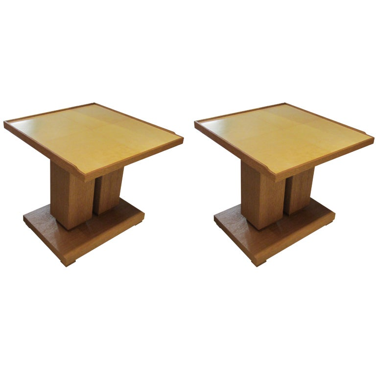 Exquisite Pair of Cerused Oak and Parchment Tables in the Dupre Lafon Manner