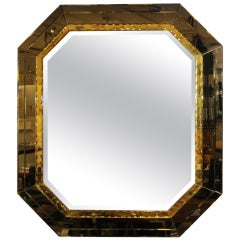 Spectacular Octagonal Venetian Mirror w. Etched Colored Glass
