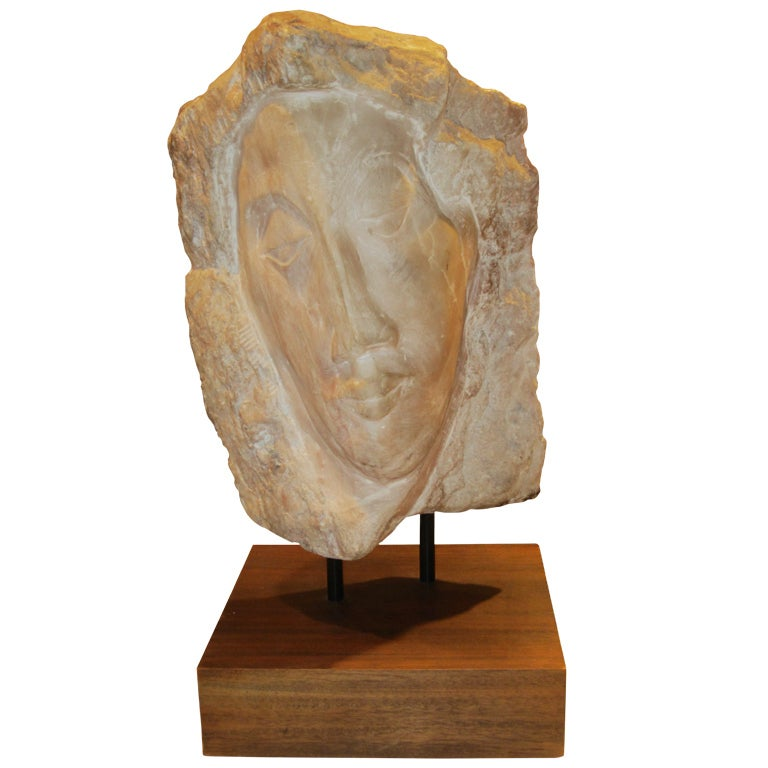 Marble Sculpture of Female Bust in the Manner Of Modigliani