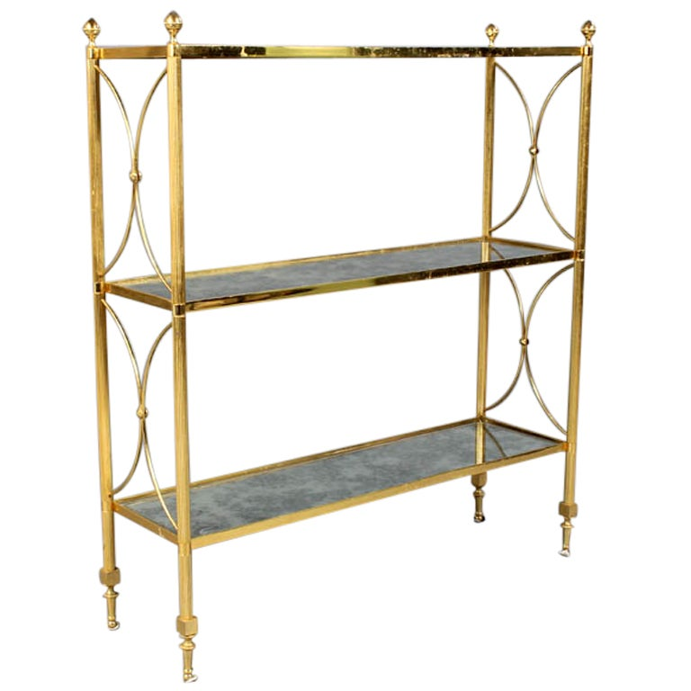 Exquisite regency style brass etagere with distressed for Miroir etagere