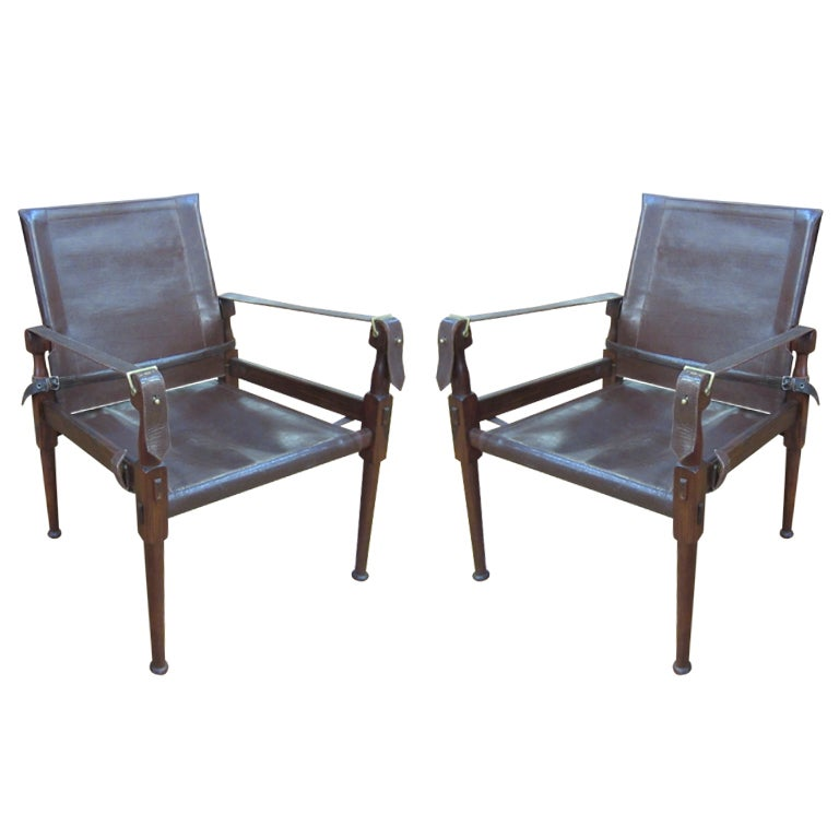Srm Furnitures: A Danish Pair Rosewood And Leather Safari Chairs At 1stdibs