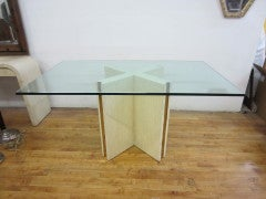Glass Top Coffee Table with Bone Brass Inlaid Base