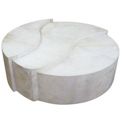 Sculptural Circular Graduated Parchment Coffee Table