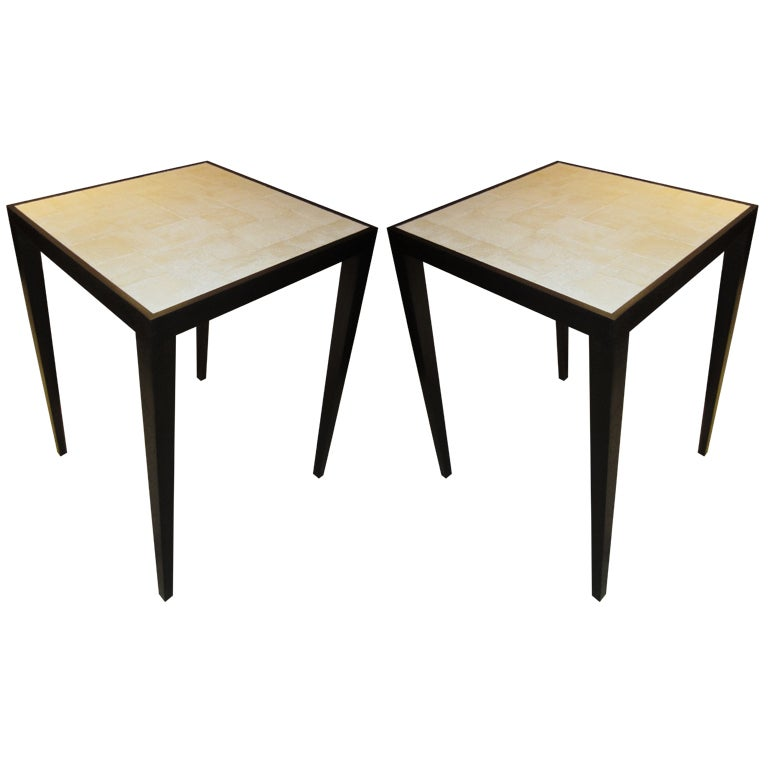 Custom Pair of White Shagreen Top Tables