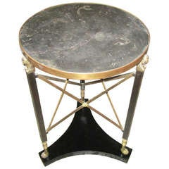 Marble-Top Brass and Bronze Gueridon