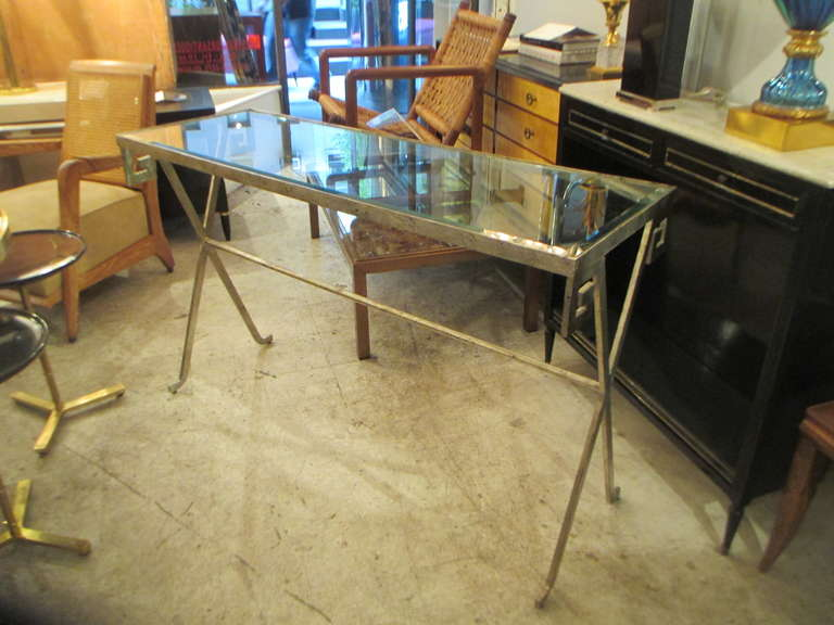 Pair of Silver-Leafed, Glass Top Consoles in the Neoclassic Manner 3