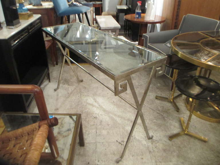 Pair of Silver-Leafed, Glass Top Consoles in the Neoclassic Manner 4