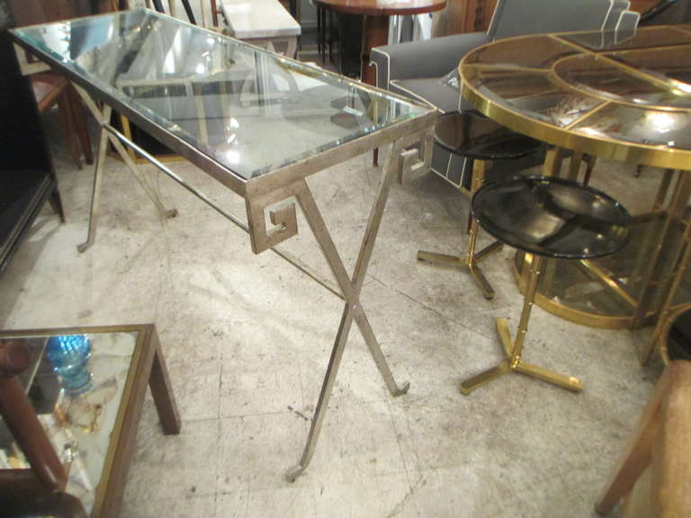 Pair of Silver-Leafed, Glass Top Consoles in the Neoclassic Manner 5