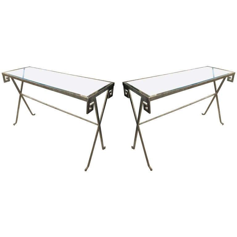 Pair of Silver-Leafed, Glass Top Consoles in the Neoclassic Manner 1