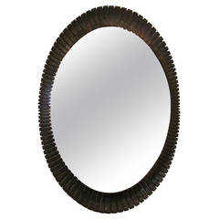 Unusual Ebonized Tribal Mirror
