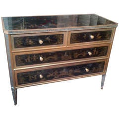 Reverse-Painted Chinoiserie Commode