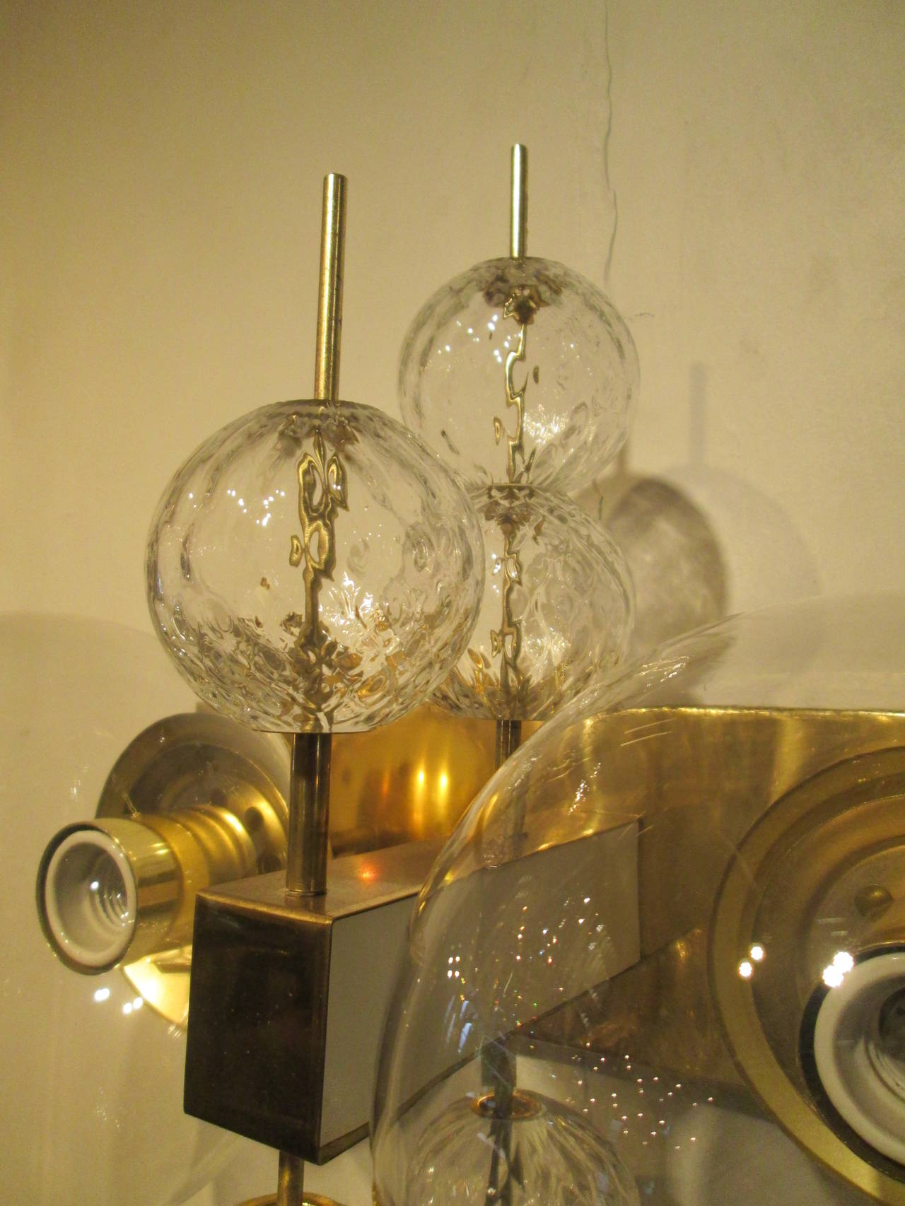Rare Pair of Modern Brass and Glass Wall Sconces at 1stdibs