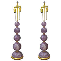 Pair of Amethyst Rock Crystal Lamps on Gilt Round Base