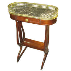 English Lyre Base Marble Top Table with Gallery