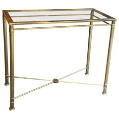 Brass Console Table with Glass Top and Brass Stretchers