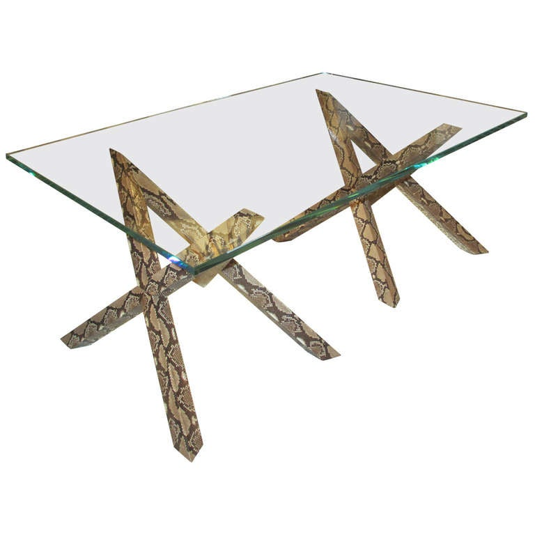 Unusual Coffee Table with Python Skin Base