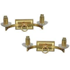 Pair of Mid-Century Modern Brass Sconces