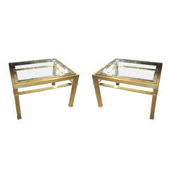 Pair of Glass Top Bronze Tables