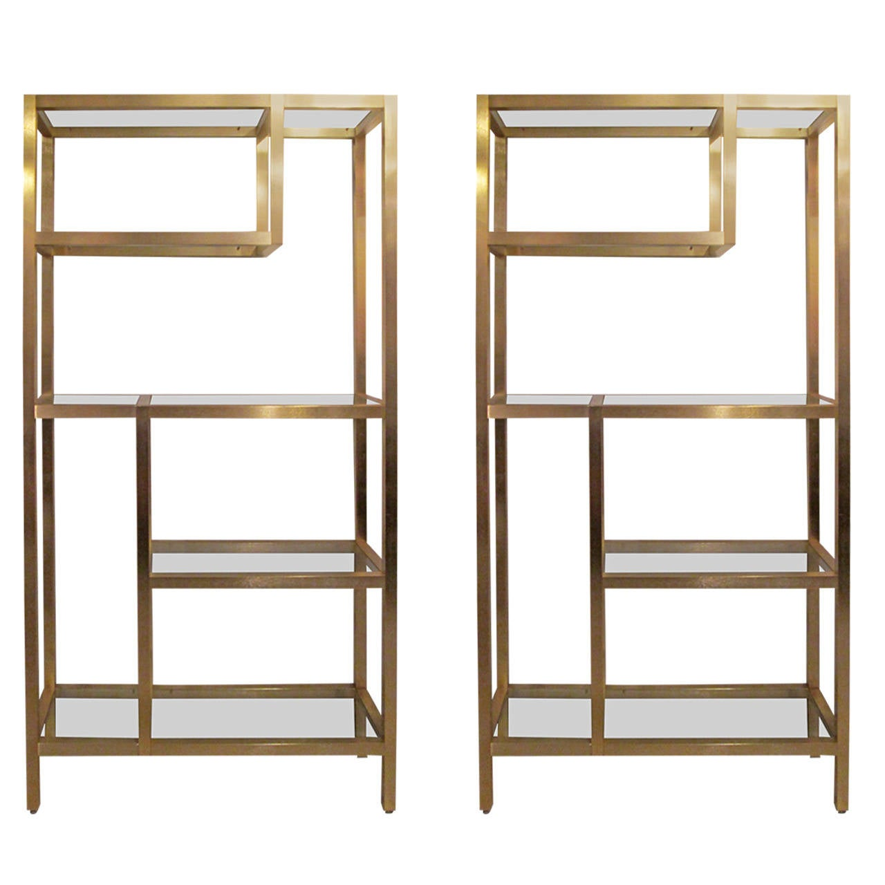 pair of modern brass etageres or bookcases at 1stdibs. Black Bedroom Furniture Sets. Home Design Ideas
