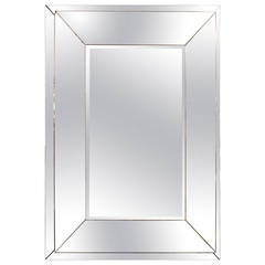 Rectangular Stepped Mirror with Beveled Central Plate