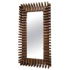 Unusual Slatted Wooden Mirror