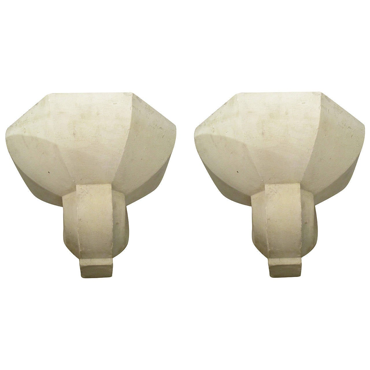 Pair of Custom Plaster Sconces in the French, 1940s Manner