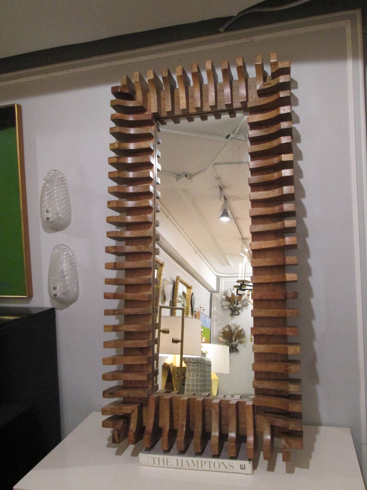 Unusual Mirror unusual slatted wooden mirror for sale at 1stdibs