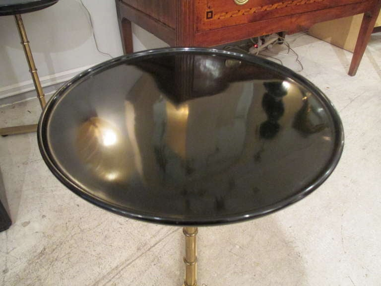 A Pair Of Brass Faux Bamboo Tables With Ebonized Circular Tops 3