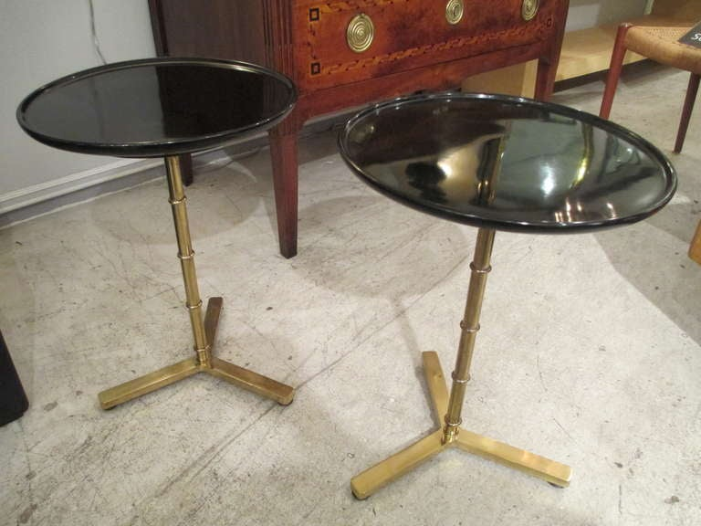 A Pair Of Brass Faux Bamboo Tables With Ebonized Circular Tops 7