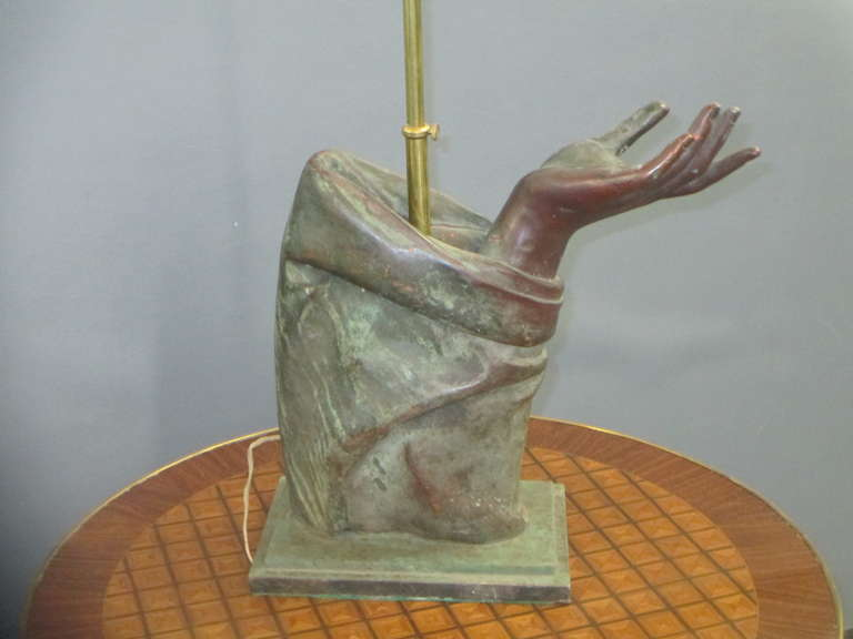 French Sculptural Pair of Bronze Hand Lamps